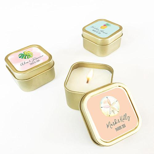 Personalized Floral Garden Gold Square Candle Tins